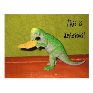 Dinosaur and Corn Chip Postcard