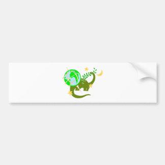 Dinosaur and globe bumper sticker