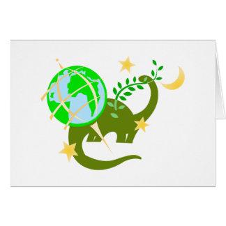 Dinosaur and globe greeting cards