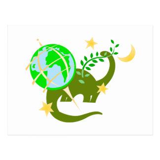Dinosaur and globe postcard