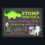 "Dinosaur and Unicorn Joint Birthday Invitation<br><div class=""desc"">All designs are © Happy Panda Print</div>"