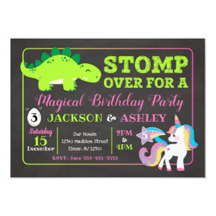 Dinosaur And Unicorn Joint Birthday Invitation