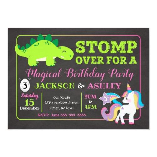 Dinosaur and Unicorn Joint Birthday Invitation