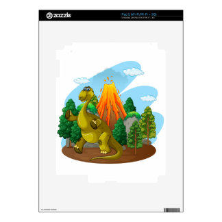 Dinosaur and volcano eruption decal for the iPad 2