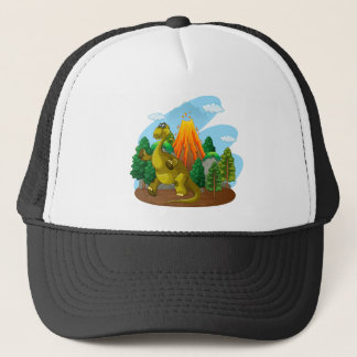 Dinosaur and volcano eruption trucker hat