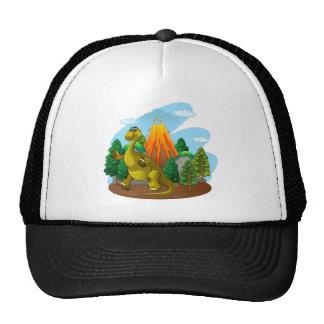 Dinosaur and volcano eruption trucker hat