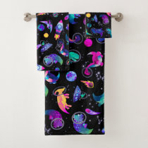 Dinosaur Astronauts Watercolor Space Kids Dino Bath Towel Set