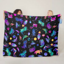 Dinosaur Astronauts Watercolor Space Kids Dino Fleece Blanket