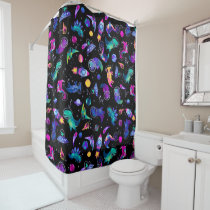 Dinosaur Astronauts Watercolor Space Kids Dino Shower Curtain