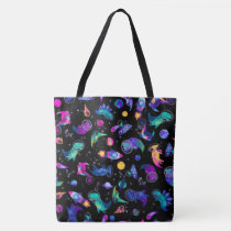 Dinosaur Astronauts Watercolor Space Kids Pink Tote Bag
