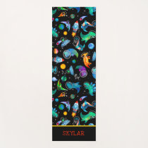 Dinosaur Astronauts Watercolor Space Personalized Yoga Mat