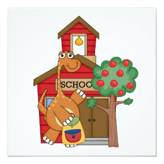 Dinosaur at School t-shirts and Gifts 5.25x5.25 Square Paper Invitation Card