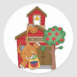 Dinosaur at School t-shirts and Gifts Round Stickers