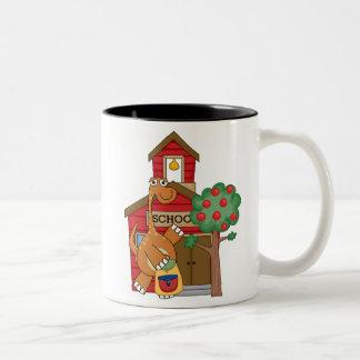 Dinosaur at School t-shirts and Gifts Two-Tone Coffee Mug