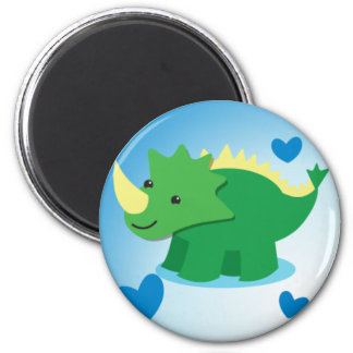 dinosaur awesome on square 2 inch round magnet
