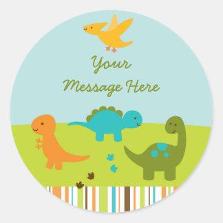 Dinosaur Baby Shower Classic Round Sticker
