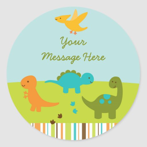 Dinosaur Baby Shower Classic Round Sticker