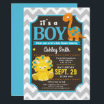 "Dinosaur Baby Shower Invitation Boy<br><div class=""desc"">It&#39;s a Boy! Blue,  Orange and yellow baby dinosaur baby shower invitation.  Gray and white chevron pattern background.</div>"