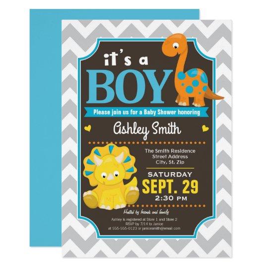 Dinosaur Baby Shower Invitation Boy Zazzle