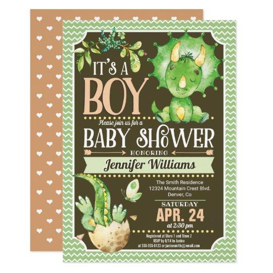 Dinosaur Baby Shower Invitation Boy Green Zazzle