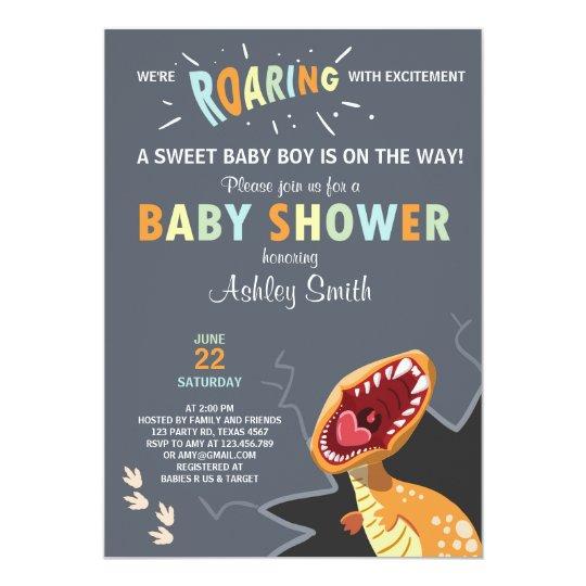 Dinosaur Baby Shower Invitation Dino Baby Boy Blue Zazzle