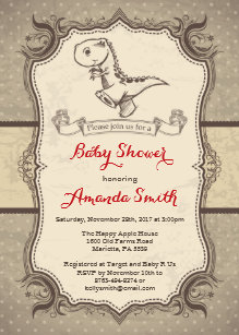 Dinosaur Baby Shower Invitation Vintage Retro