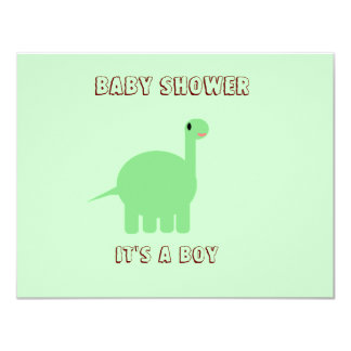 Dinosaur Baby shower its a boy 4.25x5.5 Paper Invitation Card