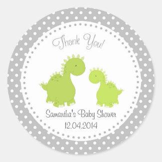 Dinosaur Baby Shower Sticker Green