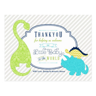 Dinosaur Baby Thank You Postcard