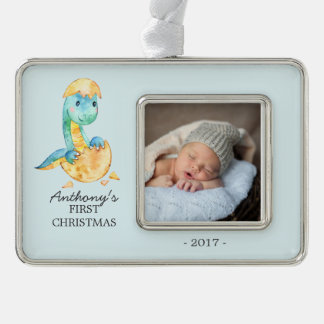 Dinosaur Baby's 1st Christmas Photo Ornament