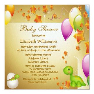 Dinosaur & Balloons Elegant Gold Baby Shower Announcement