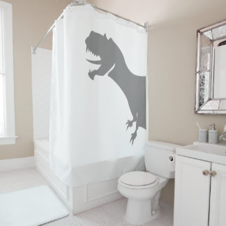 Dinosaur Behind The Curtain Shower Curtain