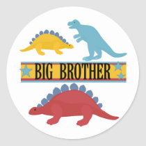 Dinosaur Big Brother Classic Round Sticker