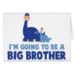 dinosaur big brother to be NEW blue Greeting Card