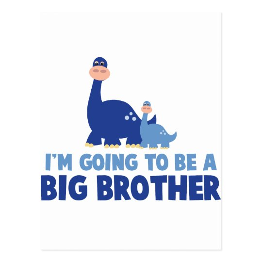 dinosaur big brother to be NEW blue Postcard