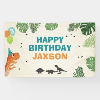 Dinosaur birthday banner Boy Dino Party T-Rex