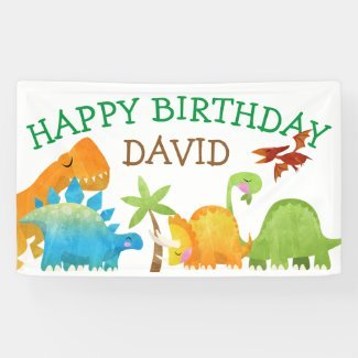 Dinosaur Birthday Boy Party Dino DinoMite Banner
