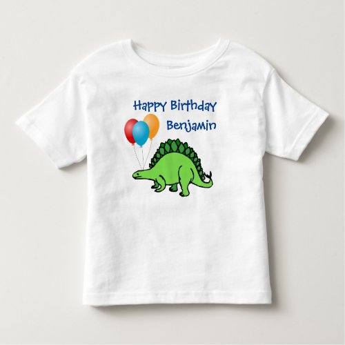Dinosaur Birthday Cute Balloons Little Boy Name Toddler T_shirt