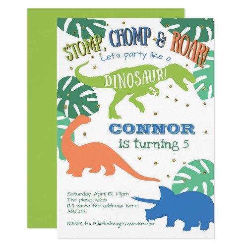 Dinosaur Birthday, Green, Blue, Boy Birthday Invitation
