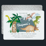 "Dinosaur Birthday Invitation<br><div class=""desc"">Stop,  chomp,  growl and roar with this fun,  colorful whimsical dinosaur invitation.  Compete with mountains,  volcanos,  trex,  trees and more!</div>"