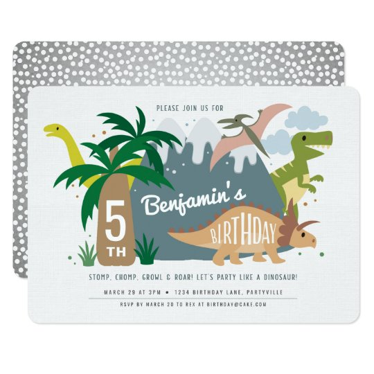 dinosaur birthday invitation zazzle com