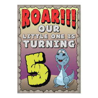 Dinosaur Birthday Invitation 5 Year Old