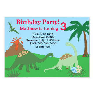 Dinosaur Birthday Invitation 5x7