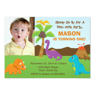 Dinosaur Birthday Invitation 5x7 Photo Card