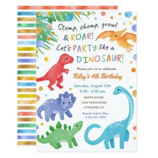 Dinosaur Birthday Invitation Colorful Cute