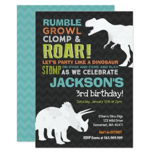 Dinosaur Birthday Invitation Fossil Party