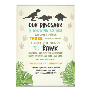 Dinosaur Party Invitations Announcements Zazzle