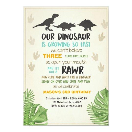Dinosaur birthday invitation Dinosaur Party Invite Zazzlecom