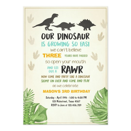 Dinosaur birthday invitation dinosaur party invite zazzle dinosaur birthday invitation dinosaur party invite stopboris Image collections