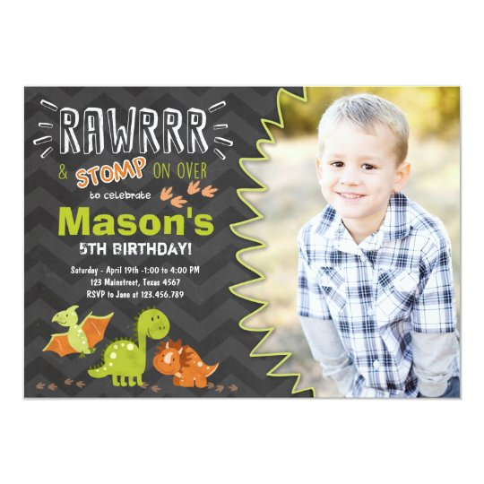 Dinosaur Birthday Invitation Party Invite